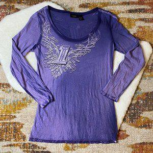 Harley-Davidson Long Sleeve Purple Dyed T-Shirt